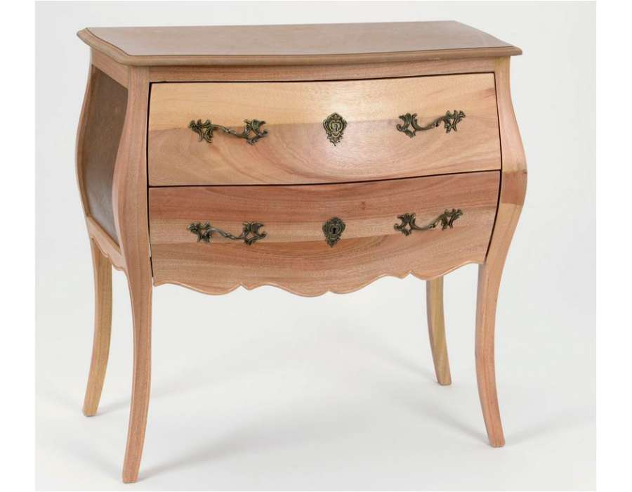 commode peindre en bois brut avec deux tiroirs. Black Bedroom Furniture Sets. Home Design Ideas