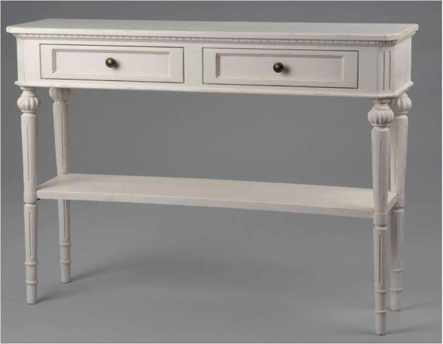 Console bois blanc patin 110 cm meuble de charme - Console d entree blanche ...