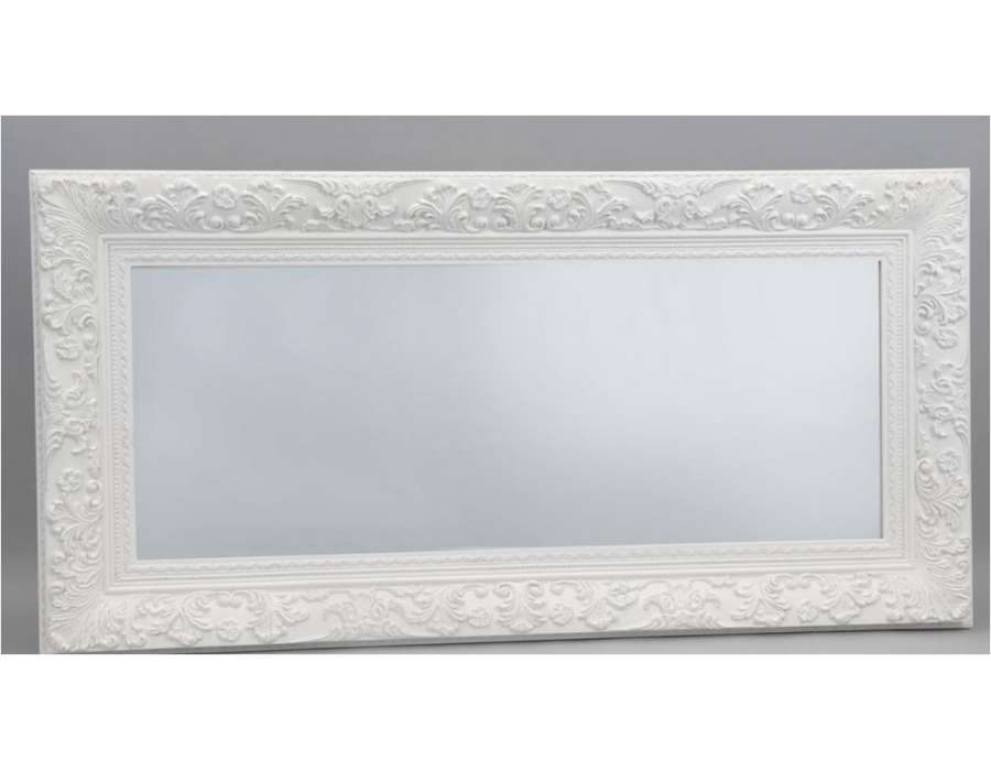 Grand miroir mural blanc laque for Grand miroir blanc baroque