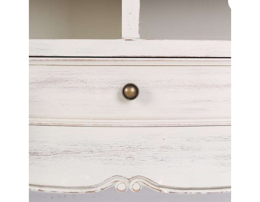 meuble tv bois patine blanc – Artzeincom -> Artzein Commode