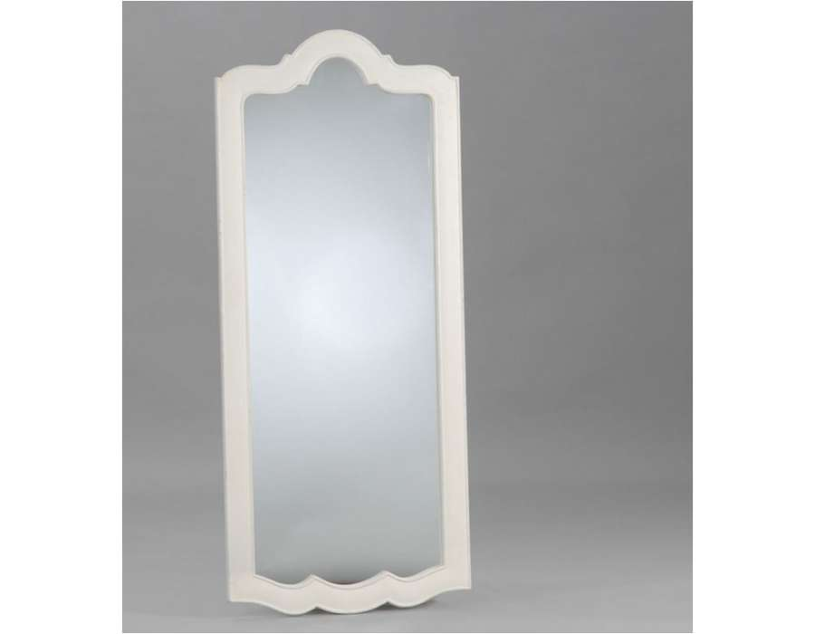 Grand miroir blanc 150 cm forme rectangulaire avec arrondi for Grand miroir metal
