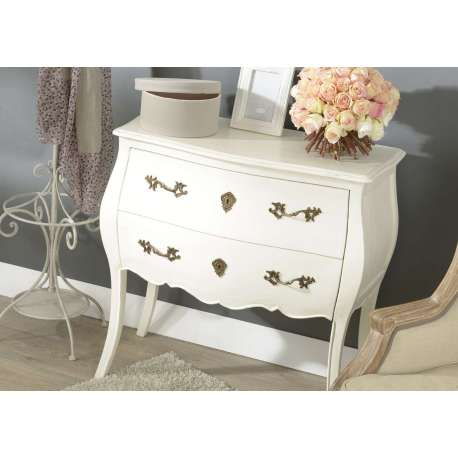 commode blanche baroque 2 tiroirs ou commode romantique blanche. Black Bedroom Furniture Sets. Home Design Ideas