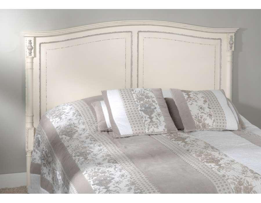 T te de lit 160 cm blanche patin e ornement - Tete de lit blanche 160 ...
