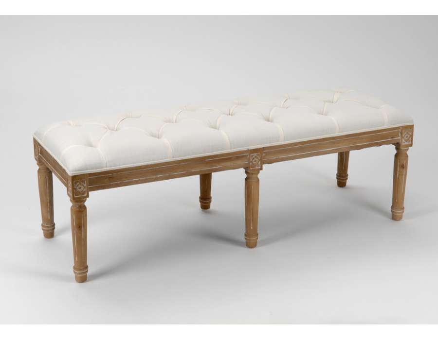 banquette capitonn e blanche 120 cm. Black Bedroom Furniture Sets. Home Design Ideas
