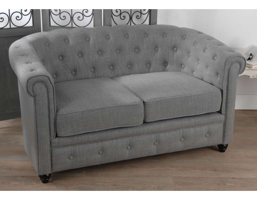 canape chesterfield gris maison design. Black Bedroom Furniture Sets. Home Design Ideas
