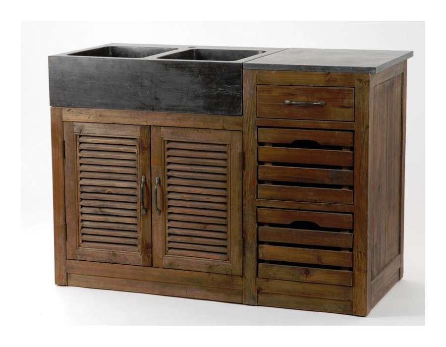 Meuble evier cuisine bois massif meuble bas sous vier en for Meuble sous evier bois massif