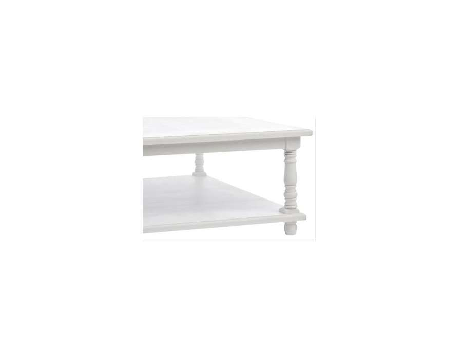 Table basse blanche carr e shabby chic jolipa - Table basse carree blanche ...