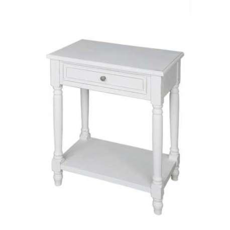 Table de nuit blanche 2t classique meuble de chambre jolipa - Table chevet blanche ...