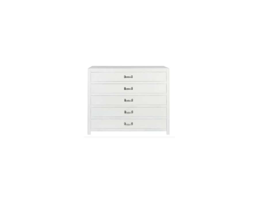Commode pin blanc 4 tiroirs bois pas chere meuble chambre jolipa - Commode 5 tiroirs blanc ...