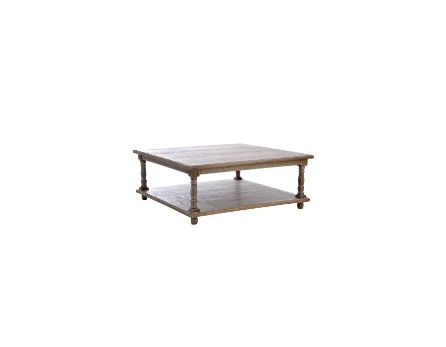Table basse bois carr e pas chere style rustique for Table basse bois naturel