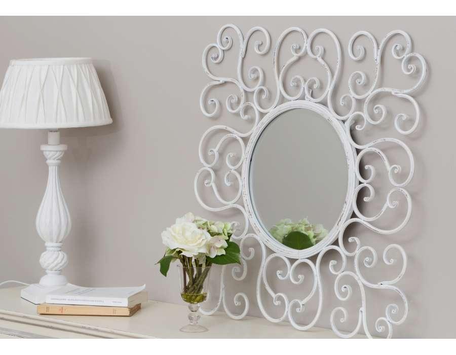 Miroir rond blanc volutes amadeus for Miroir rond blanc