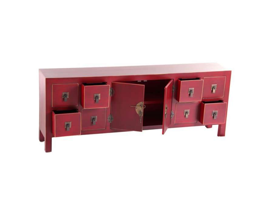 meuble de rangement chinois rouge avec 8 tiroirs meuble. Black Bedroom Furniture Sets. Home Design Ideas