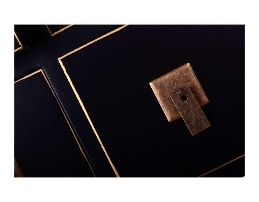 Meuble de rangement Chinois noir avec 8 tiroirs -> Meubles Bas Noir