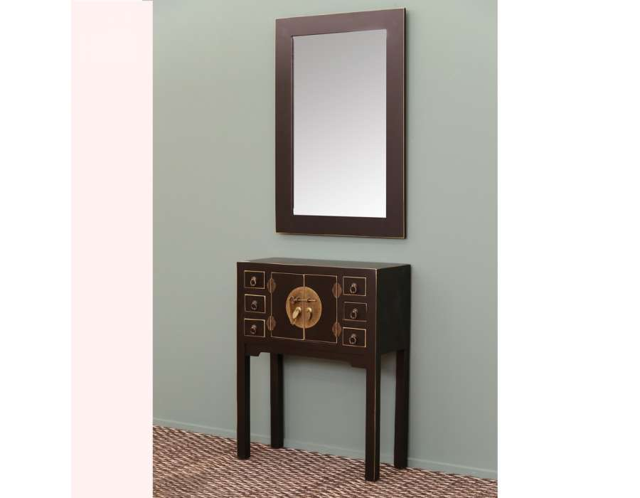 console chinoise noire et or 6 tiroirs meuble chinois pas cher. Black Bedroom Furniture Sets. Home Design Ideas