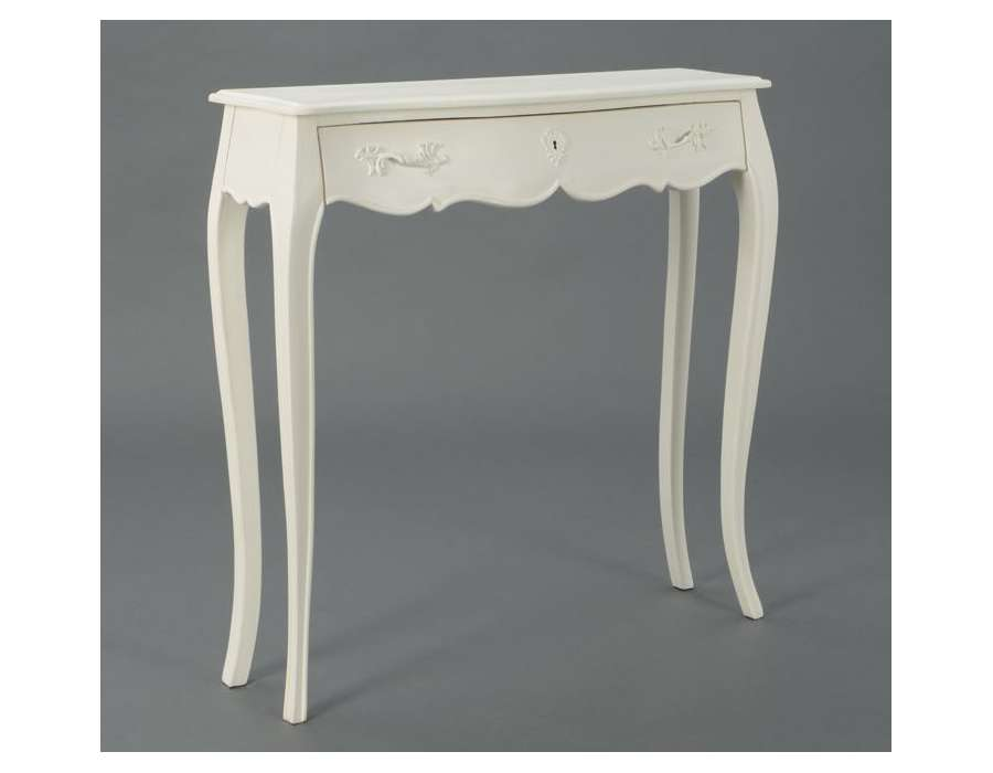 console galb e bois blanc avec tiroir pas cher. Black Bedroom Furniture Sets. Home Design Ideas