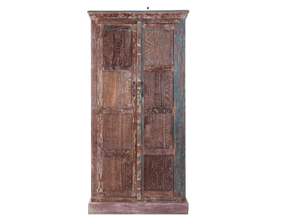 Armoire indienne en bois robuste grande armoire ou garde - Peindre des armoires en bois ...
