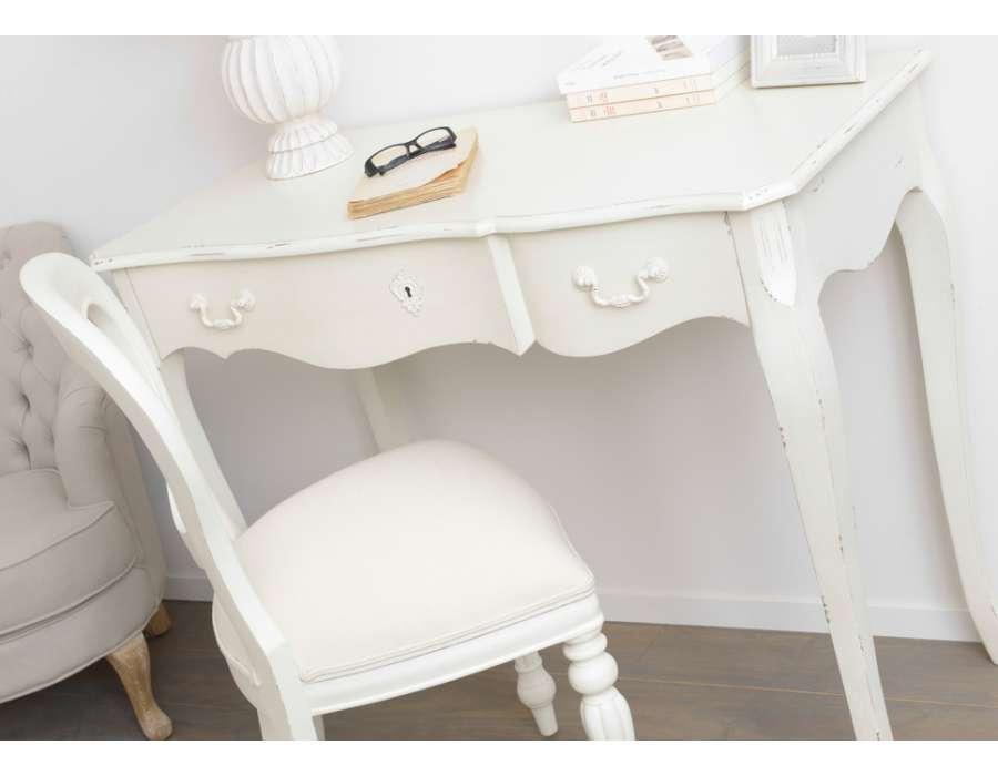 Bureau blanc patin pas cher style baroque - Bureau blanc et rose ...
