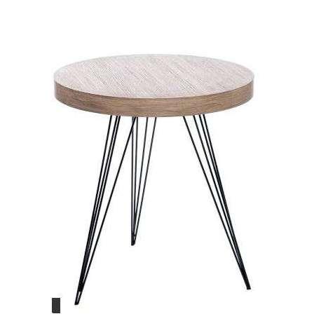 Bout de canap rond r tro design metal et bois - Bout de canape bois et metal ...