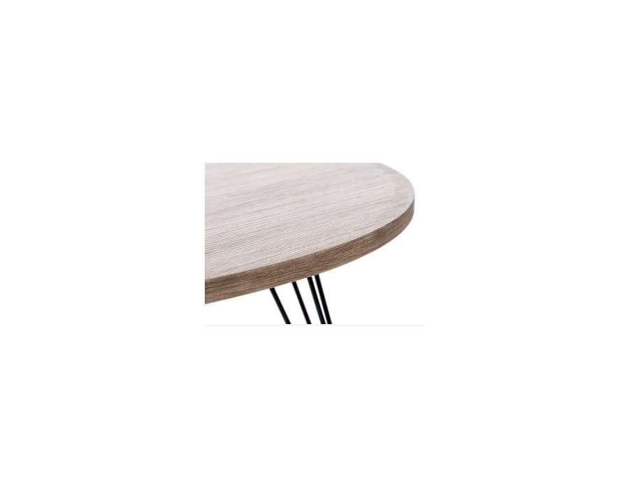 bout de canap rond r tro design metal et bois. Black Bedroom Furniture Sets. Home Design Ideas
