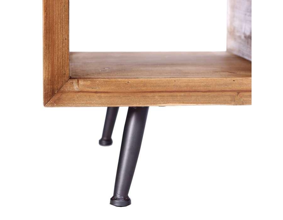 table salon bois metal. Black Bedroom Furniture Sets. Home Design Ideas