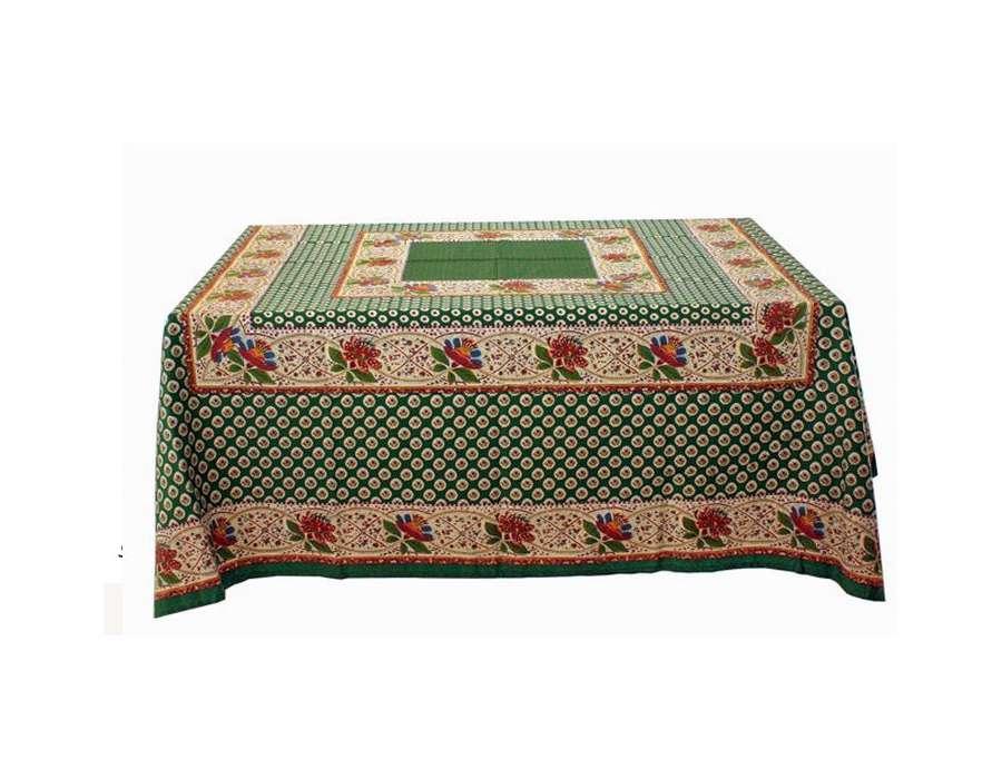grande nappe rectangulaire proven ale motifs verts et jaunes. Black Bedroom Furniture Sets. Home Design Ideas