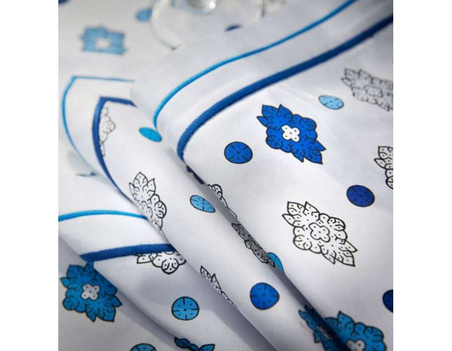 Serviette de table blanche et bleu souleiado - Serviette de table blanche ...