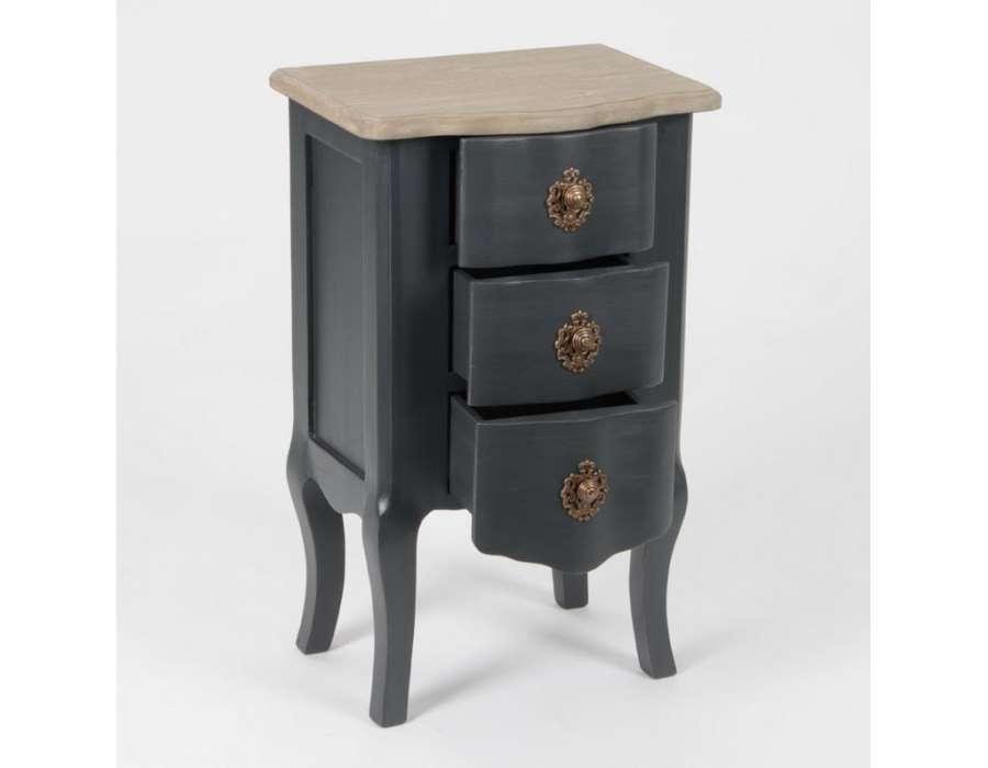 table de nuit grise 3 tiroirs l gante amadeus. Black Bedroom Furniture Sets. Home Design Ideas