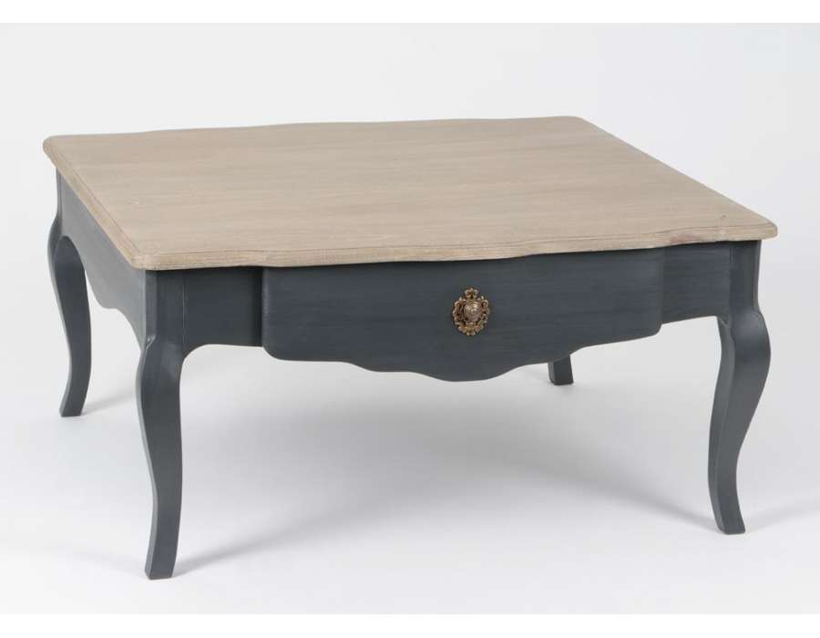 Table basse gris fonc plateau c rus table salon chic - Table basse grise bois ...
