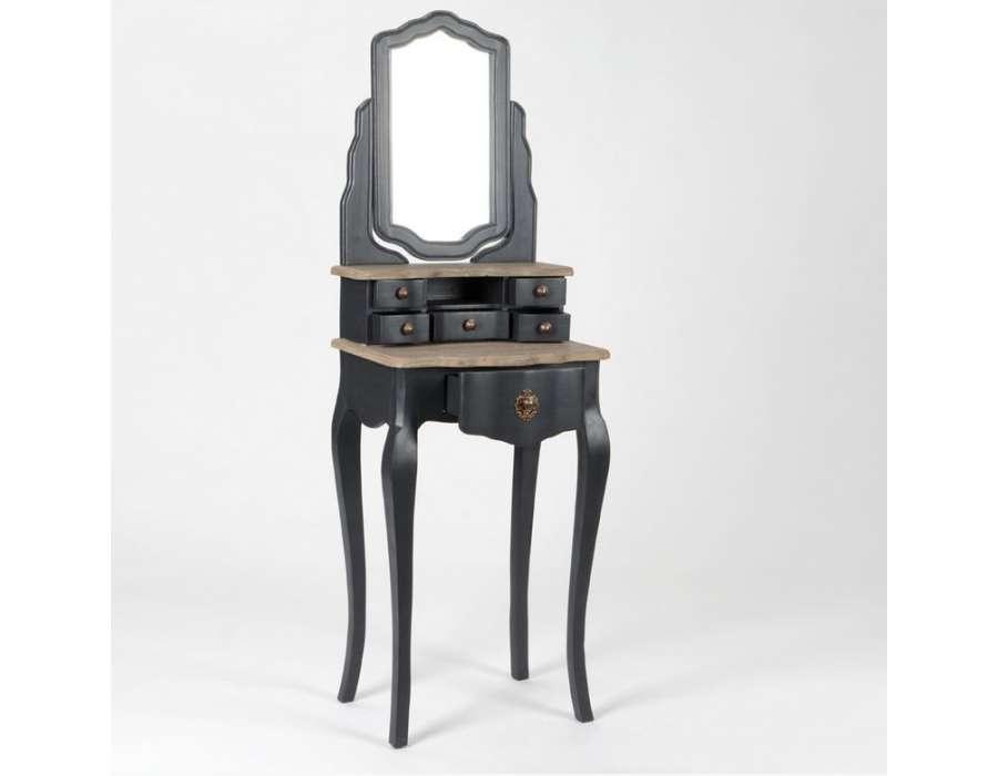 coiffeuse grise avec plateau bois et miroir. Black Bedroom Furniture Sets. Home Design Ideas