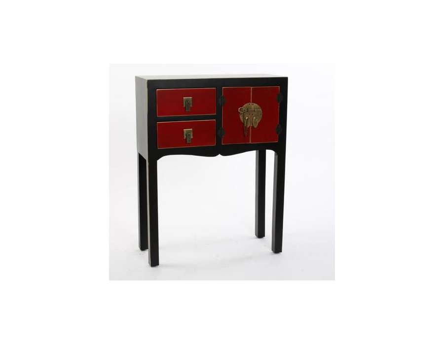 petite console chinoise noire et rouge 2 tiroirs 1 porte. Black Bedroom Furniture Sets. Home Design Ideas
