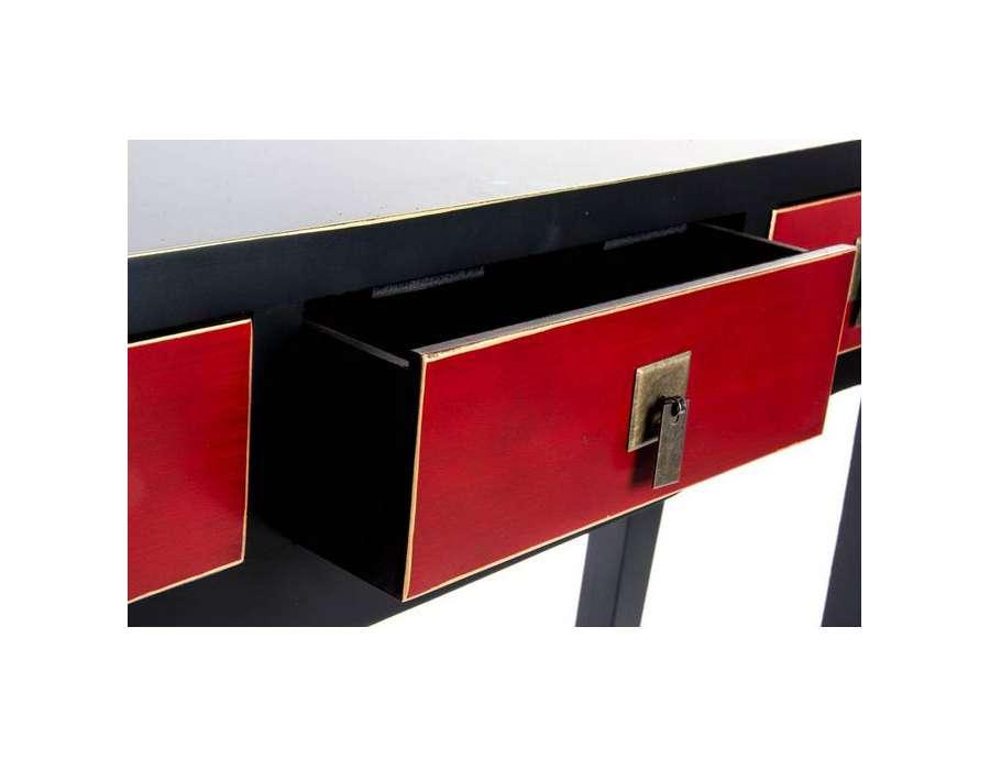 Console galb e japonaise noire rouge et dor e for Meuble console japonaise