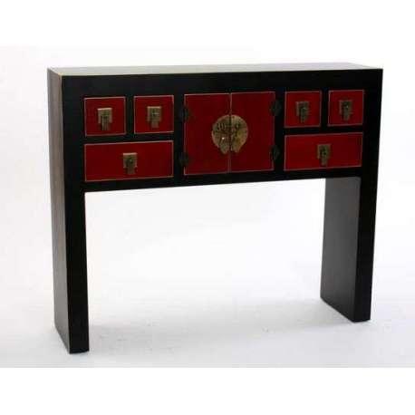 grande console japonaise noire rouge et dor e 94 cm. Black Bedroom Furniture Sets. Home Design Ideas