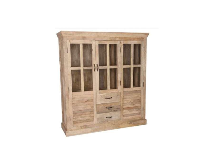 Grand meuble biblioth que bois c rus avec casiers pas chere for Grand meuble tv avec rangement