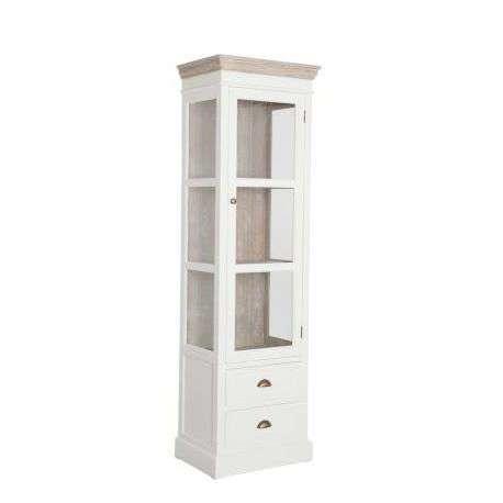 Meuble vitrine blanc et bois c rus avec porte vitr e for Petit meuble 1 porte
