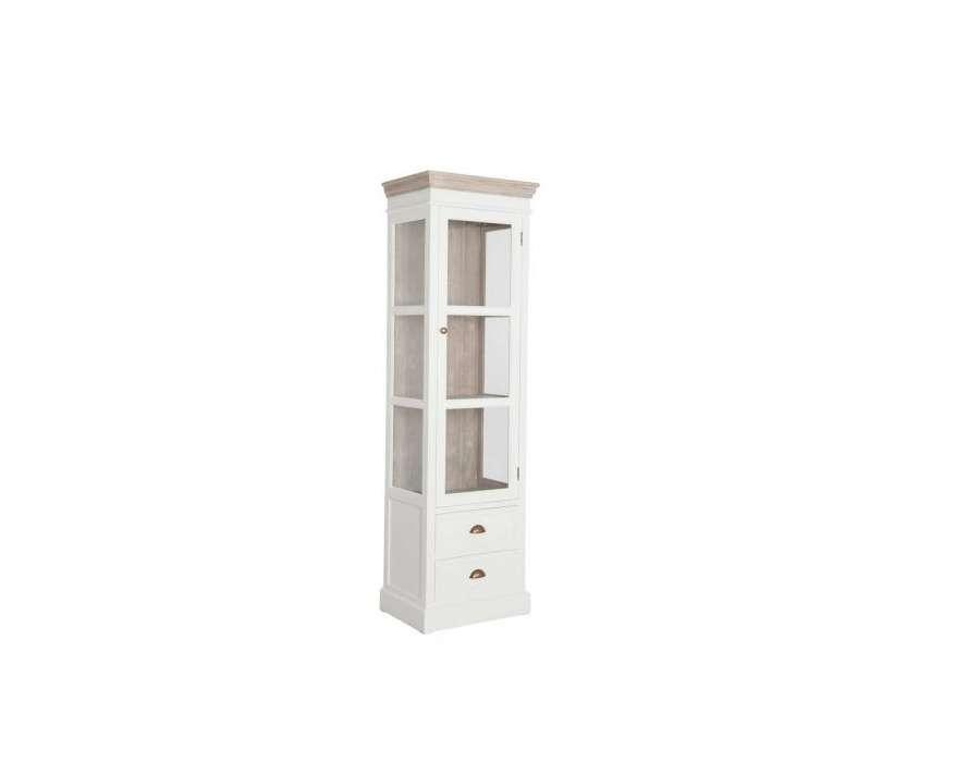 Meuble vitrine blanc et bois c rus avec porte vitr e - Meuble amadeus solde ...