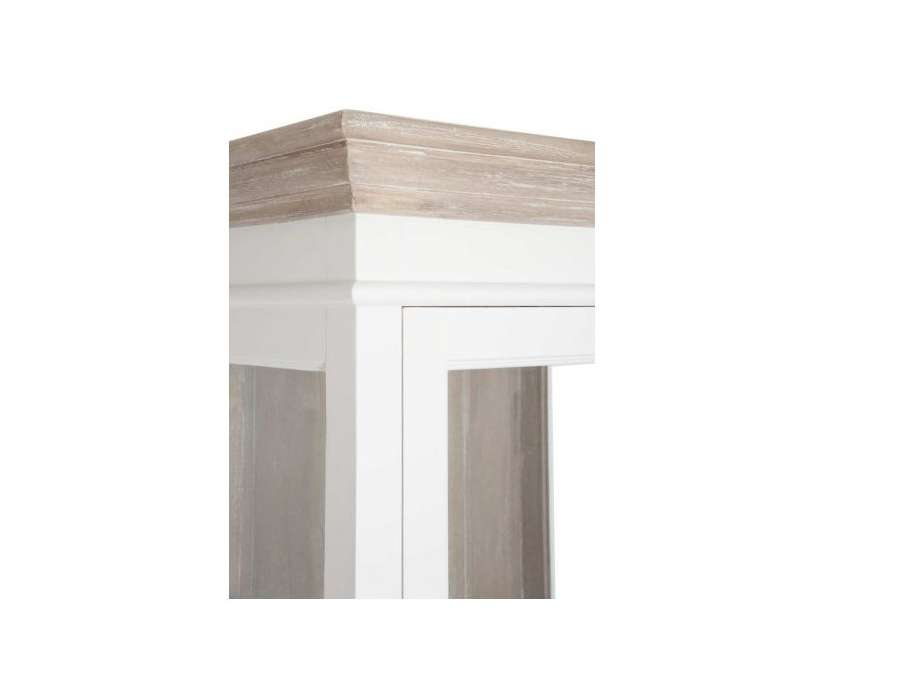 Meuble vitrine blanc et bois c rus avec porte vitr e for Meuble bois et blanc