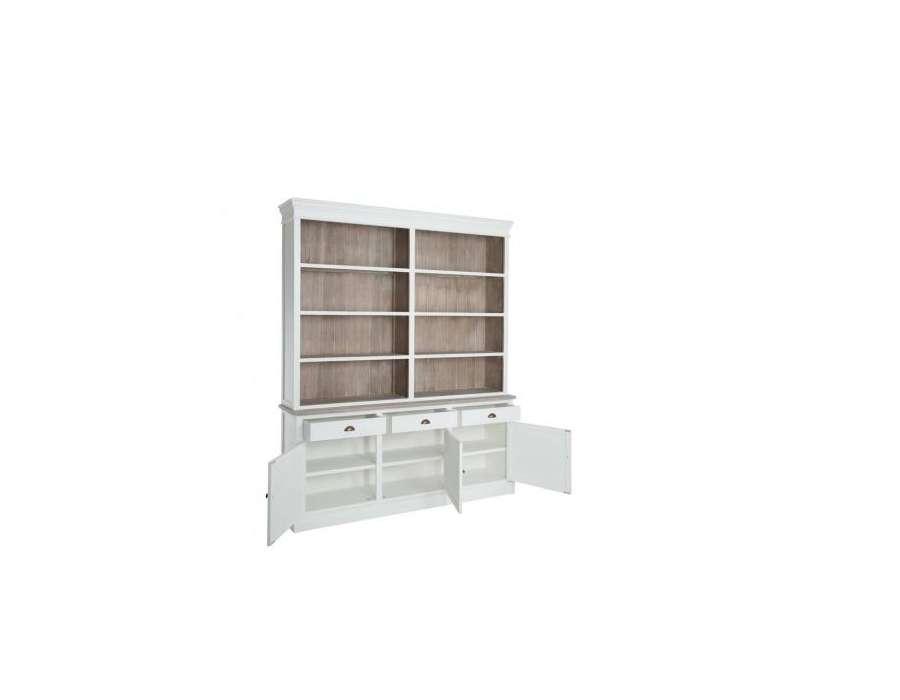 Grand meuble biblioth que bois blanc rus avec placard pas chere - Grand meuble bibliotheque ...