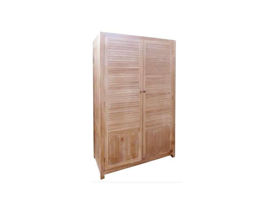 Grande armoire bois de chambre avec penderie for Meuble porte persienne