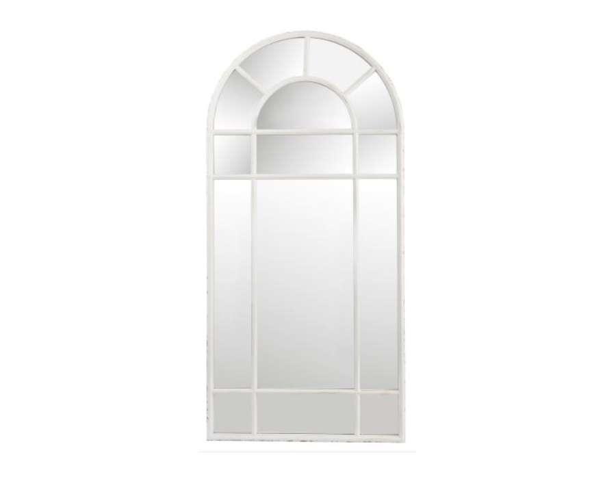 Miroir m tal quadrill blanc de 150 cm avec haut arrondi for Miroir forme fenetre