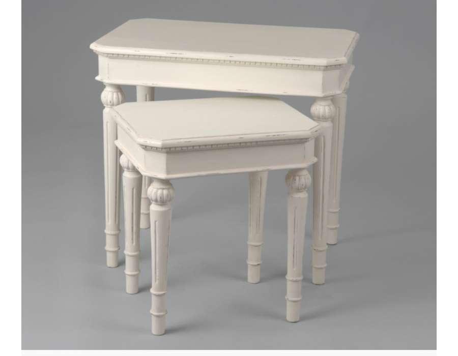 Table gigogne blanche patin es des meubles amadeus - Table gigogne blanche ...