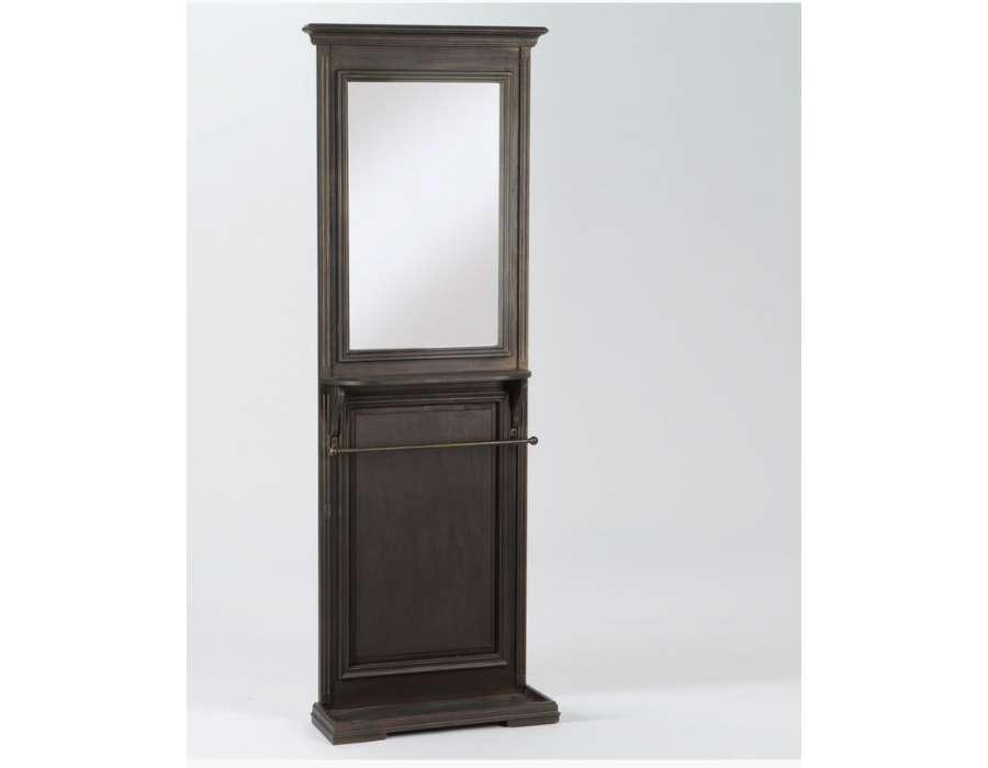 Meuble entr e noir en bois vieilli avec miroir et placard - Meuble chaussure avec miroir ...