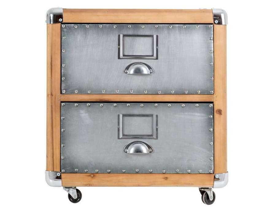 Table de chevet industrielle moderne 2 tiroirs - Table de chevet 2 tiroirs ...