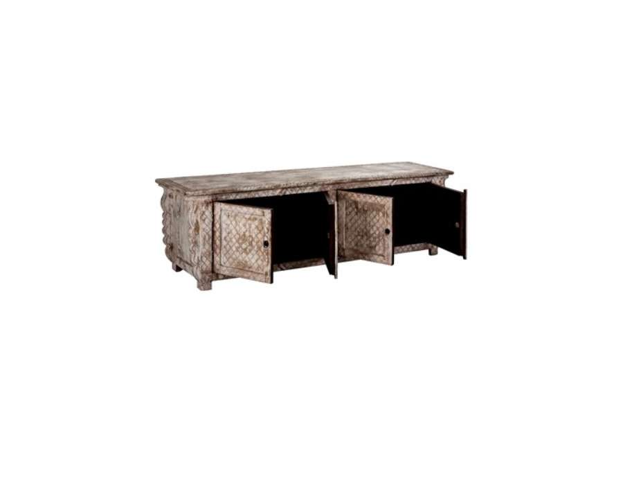 Accueil > Salon > Meuble TV > Grand meuble TV indien avec portes