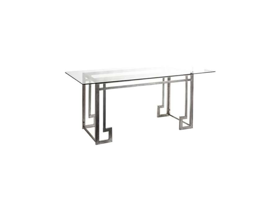 Grande table pour diner plateau verre design - Table pour diner ...