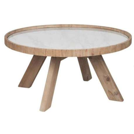 Table basse ronde en bois avec plateau ceramique jolipa for Table ceramique bois