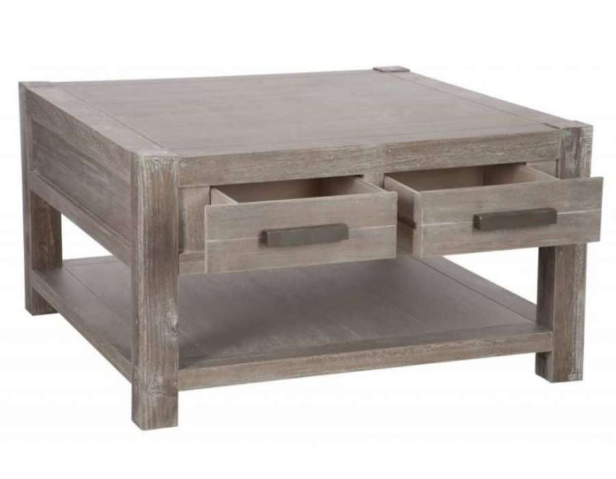 Table basse carree a tiroirs for Table basse carree bois