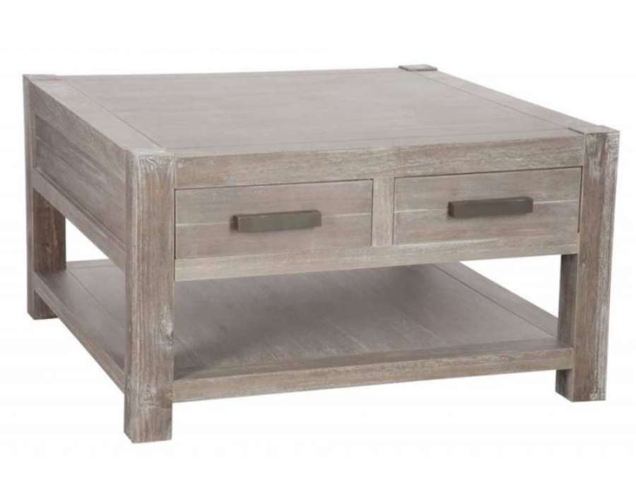 Table basse carree bois avec tiroir for Table basse carree
