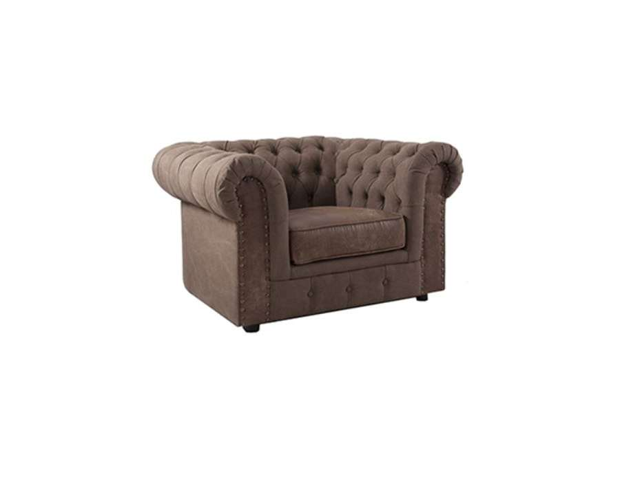 Fauteuil chesterfield velours chocolat de qualit - Fauteuil chesterfield velours ...