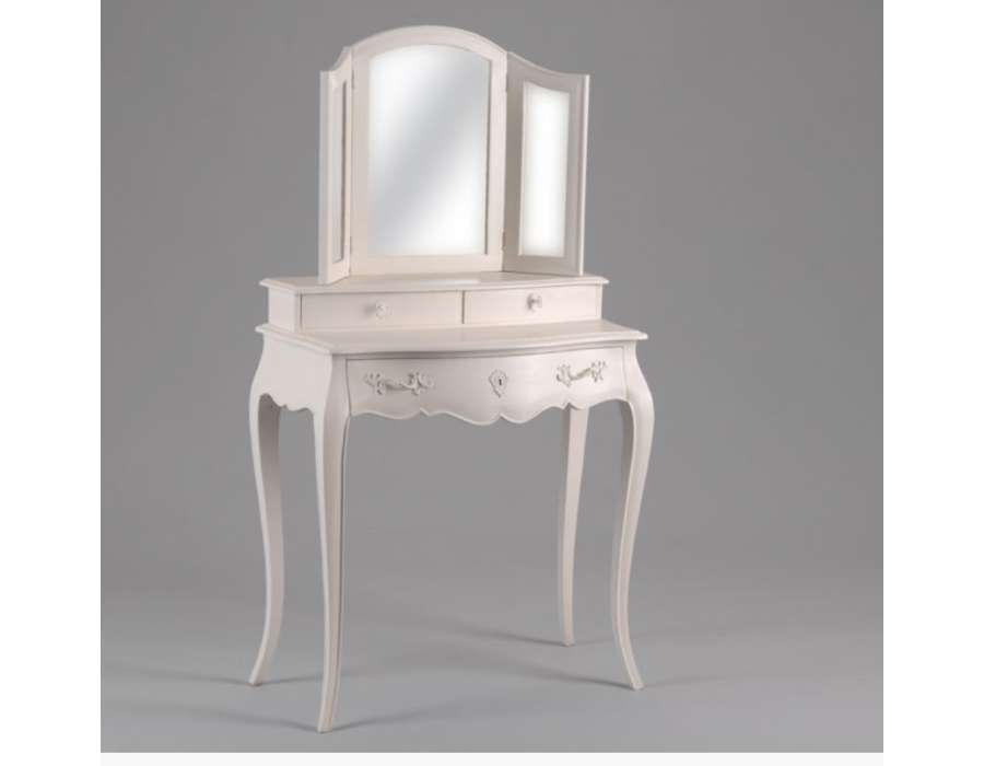 coiffeuse romantique galb e avec miroir 3 volets. Black Bedroom Furniture Sets. Home Design Ideas