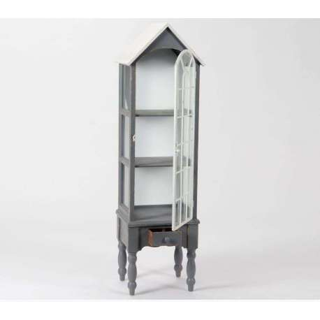 , étagères, armoires > Etagère bois gris vieilli vitrée